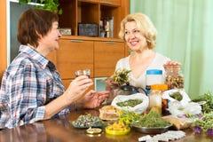Зрелые женщины выпивая травяной чай Стоковая Фотография