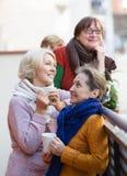 Зрелые женщины выпивая чай Стоковые Фотографии RF