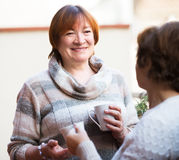 Зрелые женщины говоря на патио Стоковое фото RF