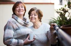 Зрелые женщины говоря на патио Стоковые Изображения RF