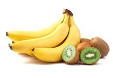 Зрелые киви и бананы Стоковое Изображение