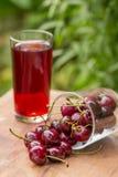 Зрелые красные вишни и стекло сока вишни на таблице в саде outdoors Стоковое Фото