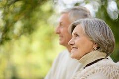 Зрелые пары в парке осени Стоковое Изображение