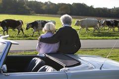 Зрелые пары в countriside во время праздников стоковая фотография