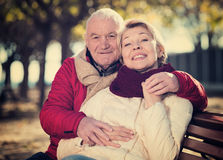 Зрелые пары сидя в парке Стоковое Фото