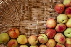 Зрелые персики в плетеной корзине Стоковые Фотографии RF
