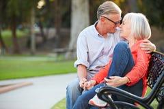 Зрелые романтичные пары сидя на скамейке в парке совместно Стоковое фото RF