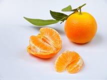 Зрелые сочные tangerines на белой предпосылке Стоковые Фото