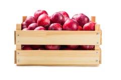 Зрелые сливы в деревянной коробке Стоковое фото RF