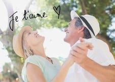 Зрелые танцы пар и текст валентинки Стоковое Изображение