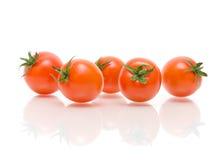 Зрелые томаты на белой предпосылке с отражением Стоковое Изображение