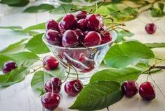 Зрелые maroon вишни в стеклянной вазе и опарнике Стоковая Фотография