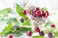 Зрелые maroon вишни в стеклянной вазе и опарнике Стоковое Фото