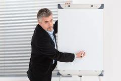 Зрелый бизнесмен делая представление на Flipchart Стоковая Фотография