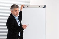 Зрелый бизнесмен делая представление на Flipchart Стоковое Изображение RF