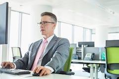 Зрелый бизнесмен работая на компьютере в офисе Стоковые Фотографии RF