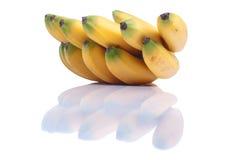 Зрелый желтый младенец бананов на белизне изолировал предпосылку с refle Стоковое Фото