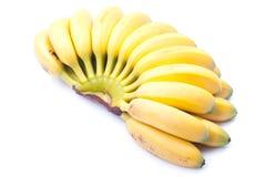 Зрелый желтый младенец бананов на белизне изолировал предпосылку с shado Стоковые Изображения