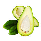 Зрелый зеленый авокадо при листья изолированные на белой предпосылке стоковая фотография rf