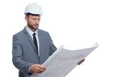 Зрелый мужской архитектор с светокопией Стоковая Фотография RF