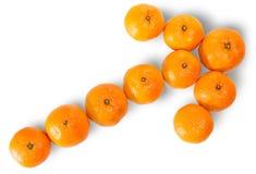 Зрелый сочный оранжевый Tangerine выровнянный как стрелка Стоковое Фото