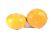 2 зрелых апельсина изолированного на белой предпосылке Стоковое Изображение