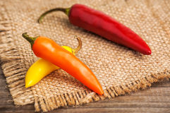 3 зрелых горячих перца Стоковые Фото
