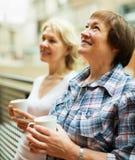 2 зрелых женщины выпивая чай Стоковое Фото