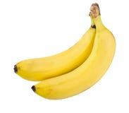 2 зрелых желтых банана изолированного на белизне Стоковые Фото