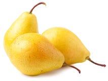3 зрелых желтых груши изолированной на белой предпосылке Стоковые Изображения