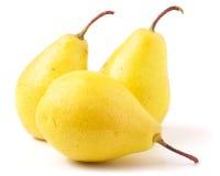 3 зрелых желтых груши изолированной на белой предпосылке Стоковые Фотографии RF