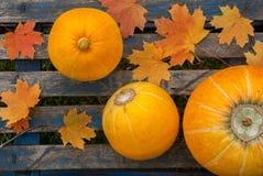 3 зрелых желтых тыквы на голубой таблице Стоковые Изображения