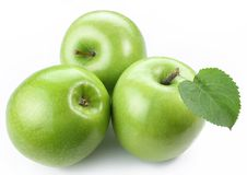3 зрелых зеленых яблока. Стоковые Изображения