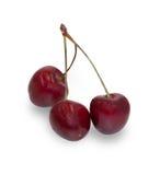 3 зрелых изолированной вишни ягод, Стоковые Фото