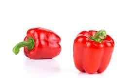 2 зрелых красных болгарского перца Стоковые Фото