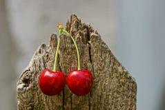 2 зрелых красных вишни на деревянной загородке Стоковые Изображения