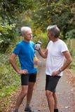 2 зрелых мужских Joggers принимая пролом пока на беге Стоковое Изображение