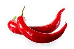 2 зрелых накаленных докрасна перца chili Стоковые Фото