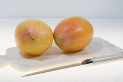 2 зрелых органических желтых манго готового для того чтобы съесть близко вверх Стоковая Фотография RF