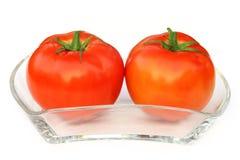 2 зрелых томата на прозрачном шаре Стоковая Фотография