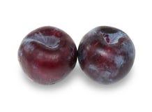 2 зрелых фиолетовых изолированной сливы Стоковая Фотография RF