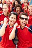 Зрители в цветах команды наблюдая событие спорт Стоковые Фотографии RF