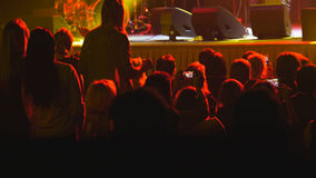 Зрители на рок-концерте - запачканная толпа стоковые изображения rf