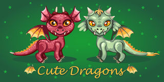 Зубастый дракон на зеленой предпосылке Стоковое фото RF