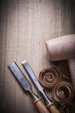 Зубила деревянных carpenter's shavings мушкела более твердые на деревянном прибое Стоковые Фото
