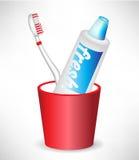 зубная паста зубной щетки контейнера Стоковые Фотографии RF