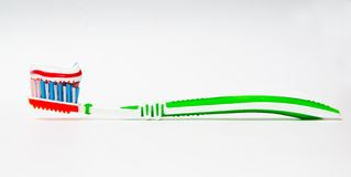 зубная паста зубной щетки tricolor Стоковая Фотография RF