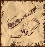 Зубная паста и щетка на винтажной предпосылке иллюстрация штока