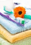 Зубная щетка с зубной пастой на свежих полотенцах Стоковые Изображения RF