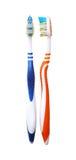 2 зубной щетки изолированной на белых предпосылках с Пэт клиппирования Стоковая Фотография RF